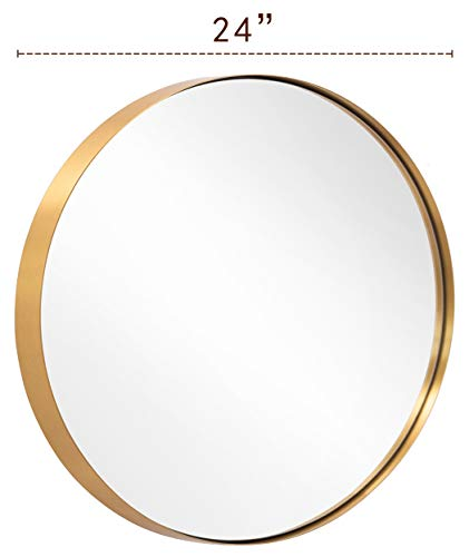 ANDY STAR Round Wall Mirror for Bathroom, 24 Inch Gold Circle Mirror -