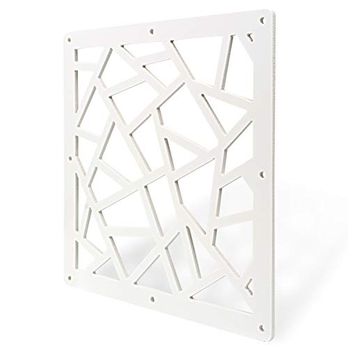 Y-Step Hanging Room Divider, 12pcs Wood-Plastic Partition Screen Panels with Butterfly Flower for Decorating Home, Dining Room, Sitting Room, Hotel - White (A)
