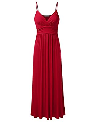 DRESSIS Womens Sleeveless V-Neck Ruched Maxi Tank Dress