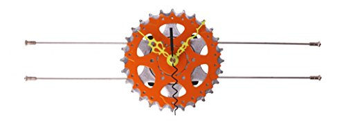 Lampcycle Recycled Bicycle Sprocket & Parallel Spoke Wall Clock: Rust & Yellow with Red Hands 3