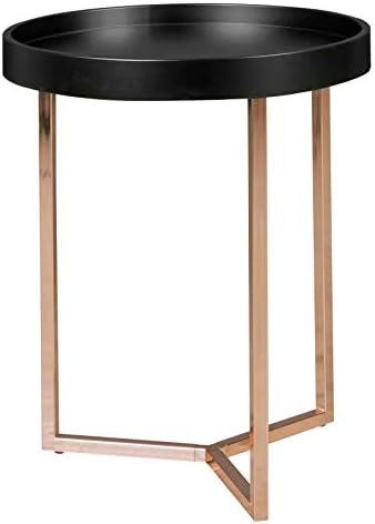 Uitstekend Wohnling woonkamertafel met dienblad salontafel, zwart/koper, ø 40 cm  lM8zv6n
