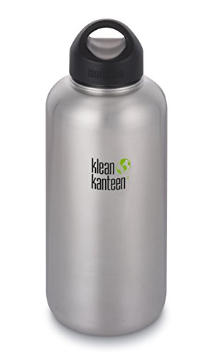 Klean Kanteen 64oz Wide Mouth Stainless Steel Water Bottle Single Wall with Leak Proof Stainless Steel Interior Cap - Brushed Stainless 2018