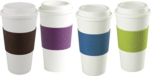 Copco Acadia Reusable To Go Mug, 16-ounce Capacity - 4-pack (Brown, Plum, Blue, Green) (Best Microwave Safe Coffee Travel Mug)