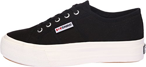 SNRD-117 Casual Stylish Platform Canvas Sneakers Shoes Black Women 7