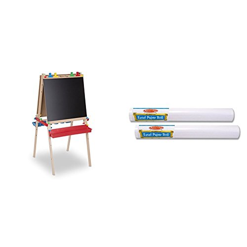 Melissa & Doug Deluxe Standing Art Easel - Dry-Erase Board, Chalkboard, Paper Roller with Melissa & Doug Easel Paper Roll- 18