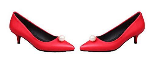 Agoolar Pu Femme Chaussures Cuir D'orteil Couleur L Fermeture Unie 1zPxpq