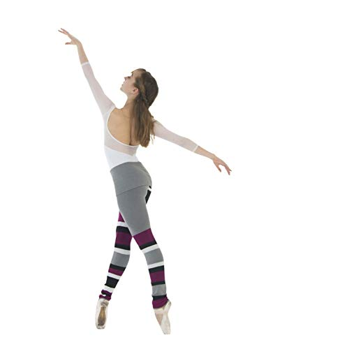 FARINA BODYWEAR Premium Warm Up Dance Sweater Tights For Women - Adult/Kids Striped Dance Leggings For Ice Skating & Ballet (Soda)
