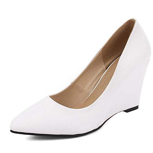 ZHZNVX Heel Spring Blanco Nappa White Leather de Basic Talones Pump Zapatos Mujer Wedge Negro rvPArq
