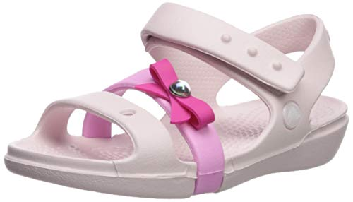 Crocs Girls' Keeley Charm Sandal Mary Jane Flat Barely Pink 6 M US Toddler