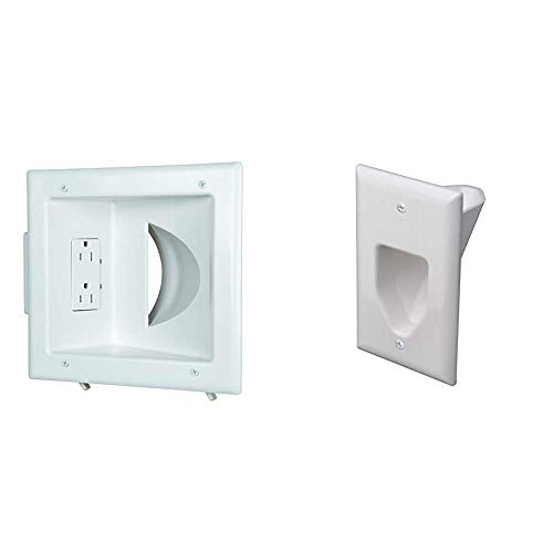 Datacomm 45-0031-WH Recessed Low Voltage Media Plate with Duplex Receptacle, White & 45-0001-WH 1-Gang Recessed Low Voltage Cable Plate (White)