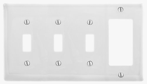 Bryant Electric NP326W Wallplate, Nylon, Standard Size, 4-Gang, 3 Toggle, 1 Decorator/GFCI, White
