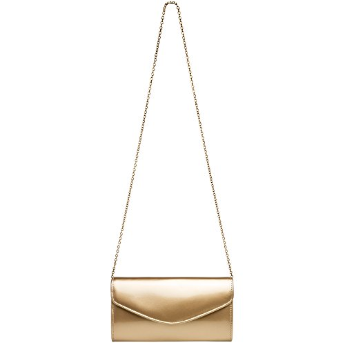 Extraordinary for TA407 CASPAR Evening Women Bag made Leather of Elegant Clutch Patent Gold Rzxwzq