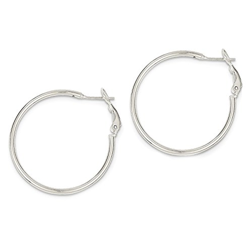 - Designs by Nathan Polished 925 Silver Omega Back Hoop Earrings (Omega Back Hoop 30mm (about 1 3/16