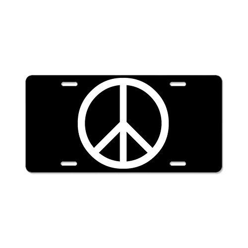 CafePress - White Peace Sign Aluminum License Plate - Aluminum License Plate, Front License Plate, Vanity ()