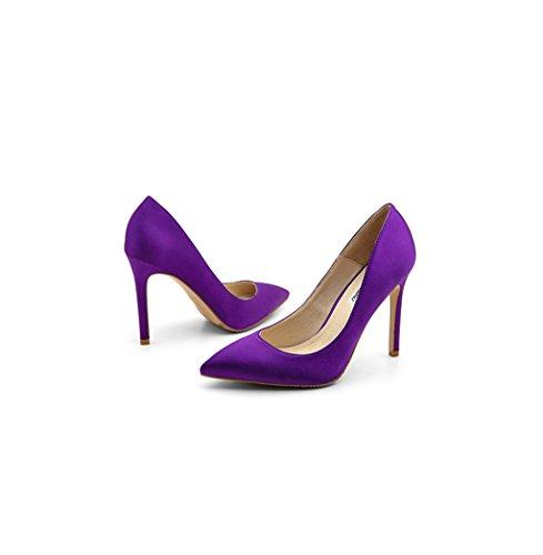 Centimetri Alti Sandali Bocca Cm 8 Da 33 Signora Tacchi 10 Superficiale 10 Verde colore Viola Sexy I Epoca Eleganti Sposa 5 Raso Sottolineato Dimensioni Viola Scarpe 5 5 Sposa 5X14wzcx