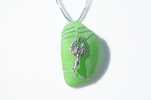 Genuine Green Sea Glass Necklace with a Silver Woodland Fairy Charm on a Sterling Silver Box Chain