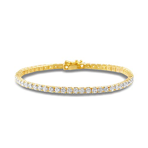 Mia Sarine 3mm Round Cubic Zirconia Gift Tennis Bracelet for Women in Yellow Gold Plated Brass (Yellow)