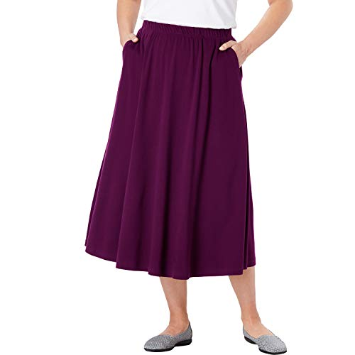 Woman Within Women's Plus Size 7-Day Knit A-Line Skirt - Dark Berry, S ()