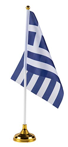 Juvale Greek Desk Flags - 24-Piece Desktop Flags with Stick and Gold Stand, Greece Flag Table Decoration, 8.5 x 5.5 Inches