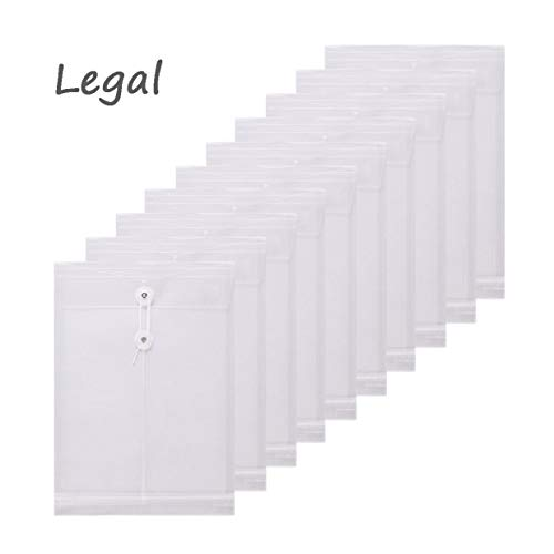 (TIENO 10 Legal Plastic Envelopes with String Closure Clear Top Loading File Folders Business Document Organizer White)
