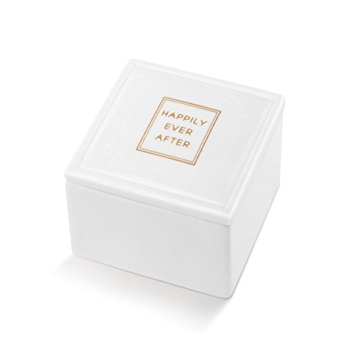 DEMDACO Happily Ever After Bridal White 3 x 3 Glossy Porcelain Decorative Keepsake Box