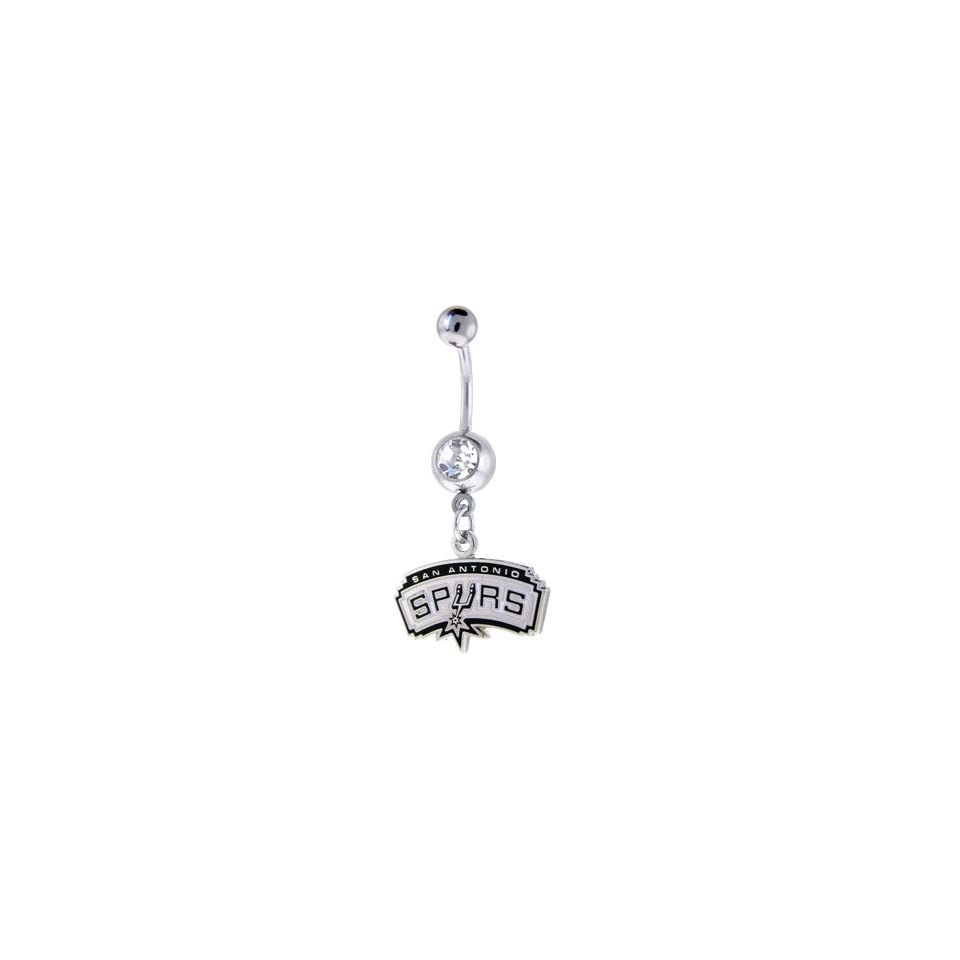 NBA San Antonio Spurs Crystalline Gem Belly Ring Jewelry