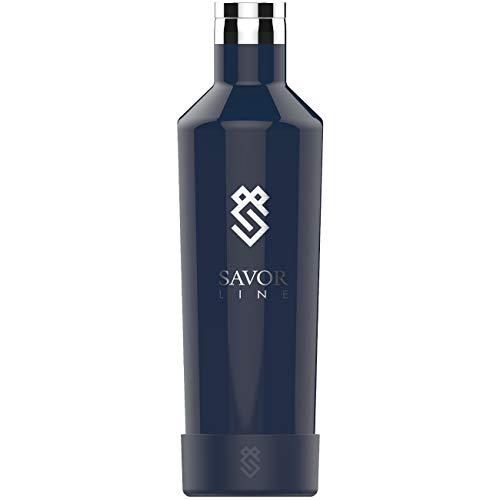 25oz Vacuum Insulated Wine Growler, Holds Entire Wine Bottle, Leak Proof Flask Design, Also Great as a Thermos, Water Bottle or Canteen For Travel or Camping