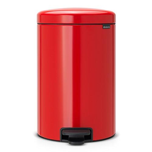 Metallic Red Rotho Paso Refuse Pedal Bin 20 Litre 29.3 x 26.6 x 45.7 cm