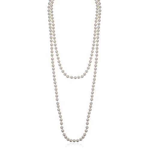 Bohemian Simulated Pearl Long Strand Necklace for Women Girls Multilayer Faux Pearl Bead Chain White 55