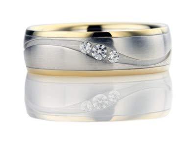 Platin Addamas Herren-Ehering aus massivem Platin, massiv, 18-karätiges GelbGold, natürlicher Diamant
