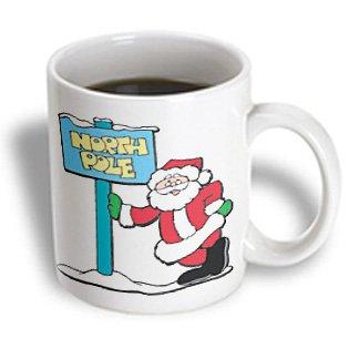 Blonde Designs Happy Holidays For All - Santa Claus Standing At The North Pole Sign - 11oz Mug (mug_160544_1)