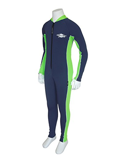 Stingray UV Sun Protection Full Body Coverage UPF SPF Swimsuit for Boys & Girls- 1-piece suit - Long sleeve, Long leg Swimwear -Navy/Lime, Size 10. ()