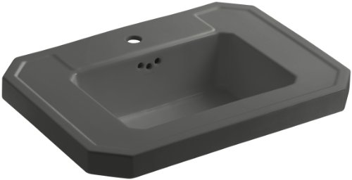 Grey Kathryn Pedestal Lavatory (KOHLER K-2323-1-58 Kathryn Bathroom Sink Basin with Single-Hole Faucet Drilling, Thunder)