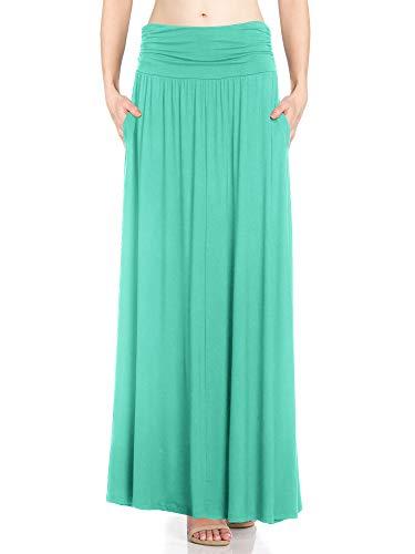 Fashion California Womens 1 Pack High Waist Shirring Maxi Skirt with Side Pockets (XXX-Large, Mint)