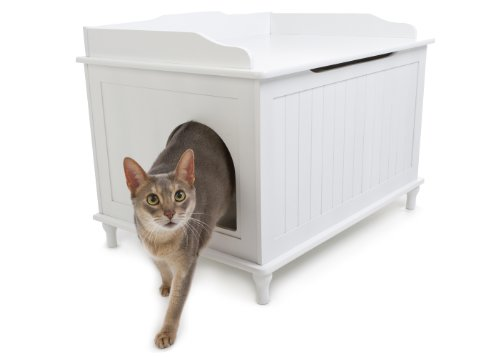 (Designer Catbox Litter Box Enclosure in White)