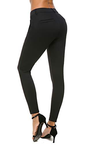 9a91125030548d Bamans Women's Yoga Dress Pants Tummy Control Pull On 4 Way Stretch Skinny  Slim Leggings at Amazon Women's Clothing store:
