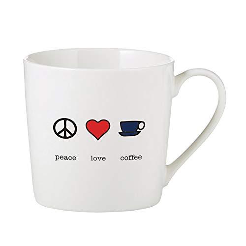 Peace Love Coffee - SB Design Studio B4400 Sips Bone China Cafe Mug/Coffee Cup, 14-Ounce, Peace Love