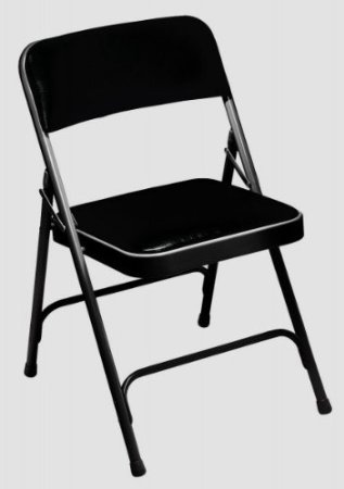1200 Series Vinyl Upholstered Folding Chair, Black/Black Fra