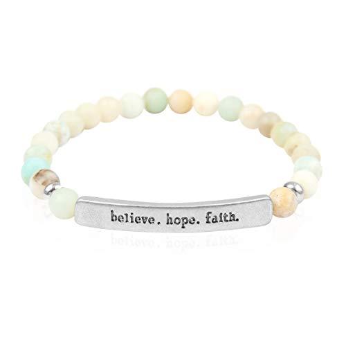 Inspirational Bar Natural Stone Stretch Prayer Bracelet - Christian Religious Message Adjustable Cuff Bangle Amazing Grace/Blessed/Faith/Love/Hope/Bible (Believe.Hope.Faith - Amazonite/Silver)