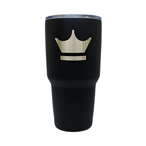 Royal Crown Black Stainless Steel Tumbler, 30 Oz Insulated Tumbler, Laser Etched In Usa