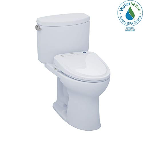 TOTO MW454584CEFG#01 WASHLET+ Drake II Two-Piece Elongated 1.28 GPF Toilet and WASHLET S350e Bidet Seat, Cotton White