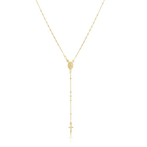 Lesa Michele Beaded Rosary Cross Drop Necklace in Gold over Sterling - Over Beads Silver Rosary Sterling