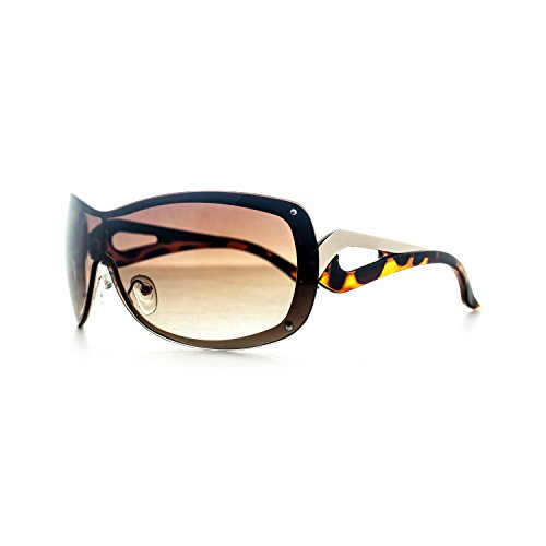 HOTLOVE Premium Sunglasses UV400 Lens Technology – Rimless Sunglasses M9203 Brown + Gold , Light Weight frame – Trendy Fashion Everyday Apparel for Women & Men