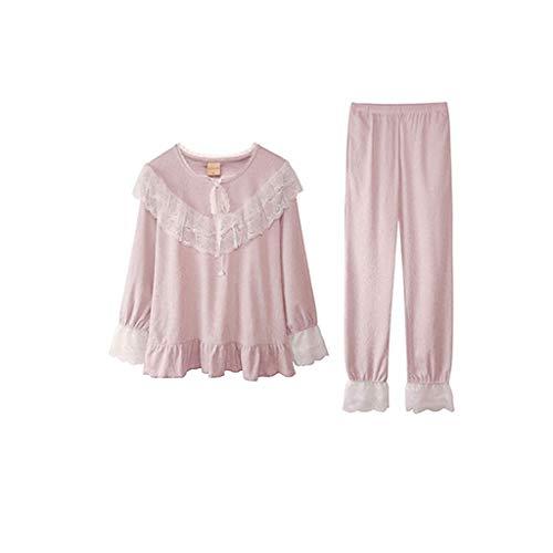 De Size 1 L Encaje color Manga Mujeres Larga Pantalones Home Pijamas Lado 1 Service Conjunto Señoras Set 5R6q5