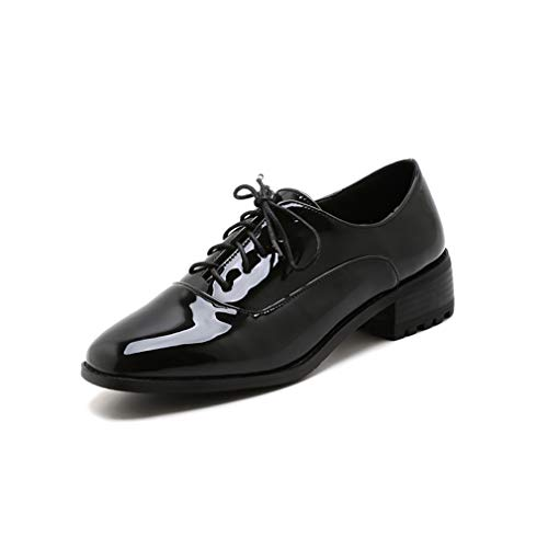 Low Patent Leather Heel - GIY Women's Classic Penny Loafers Lace Up Square Toe Patent Leather Low Heel School Dress Oxford Shoes Black