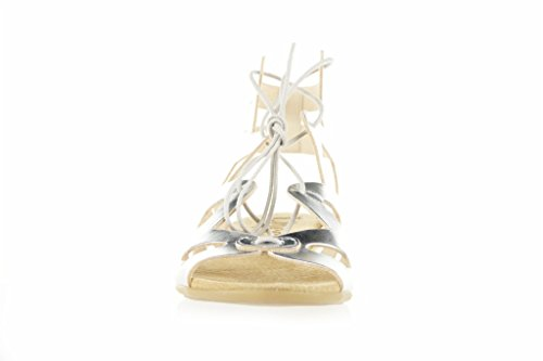 LINCE-Sandali in pelle argento ROMANO