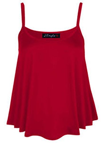 B&S Trendz - Top sin mangas para mujer talla grande (36-54), monocolor Rosso