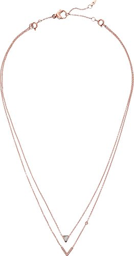 Fossil Rose Pendant (Fossil Women's Triangle Howlite Double Strand Necklace Rose Gold One Size)