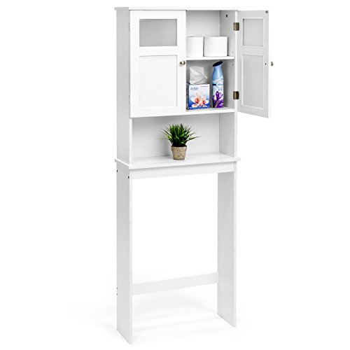 Best Choice Products Bathroom Over-the-Toilet Space Saver Double Door Linen Toiletry Storage Cabinet Tower - White by Best Choice Products