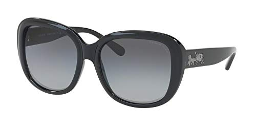 Coach Womens Sunglasses Black/Grey Plastic - Polarized - 57mm